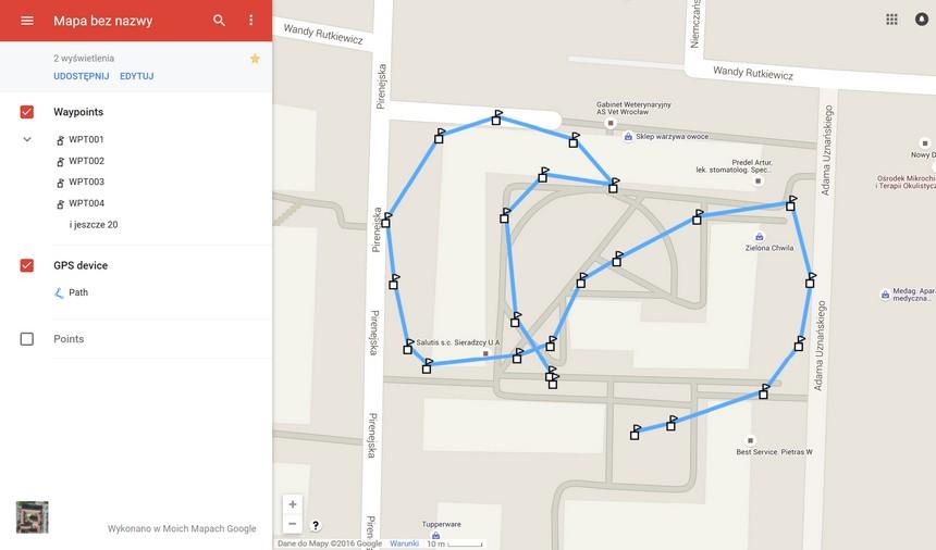 Wizualizacja trasy w Google Maps